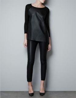 NEW Womens STREET ZARA Style BOY Chic Black Leather Knit Sweater