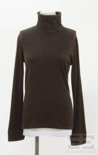 Loro Piana Dark Brown Cashmere Turtleneck Sweater Size 44