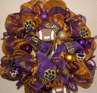 Wreath Purple Gold Deco Mesh LSU Fans Footballs Beads Tiger Ribbon 23
