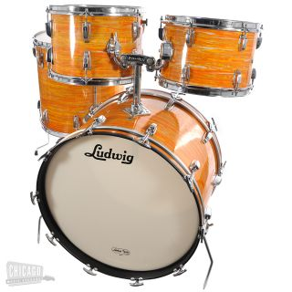 Ludwig late 60s Mod Orange 4 piece 4pc vintage Big Beat drum kit set