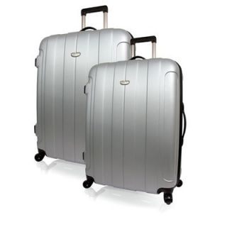 Luggage Set 2 Piece Hardside Spinner Lite Luggage Travel Set Silver