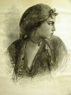 Egron Lundgren A NUBIAN GIRL from CAIRO EGYPT 1873 Antique Engraving