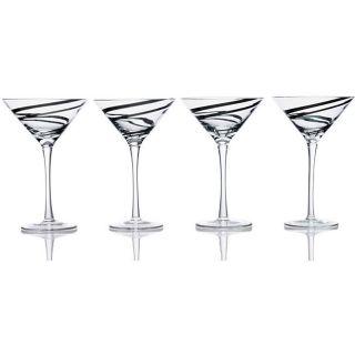 Luigi Bormioli Black Swirl 8 oz Martini Glasses 98118 04