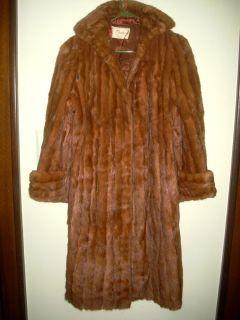 Walters Cognac Brown Real Mink Fur Swing Med to Long Coat M Repair