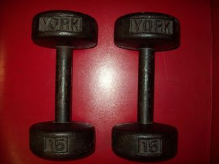 BARBELL ROUNDHEADS 15lb. dumbbells vtg antique used lurie strongman