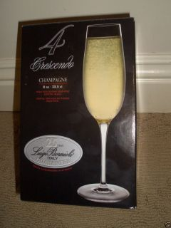 New Luigi Bormioli Crescendo 8 Ounce Champagne Flute Glasses Set of 4
