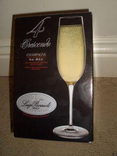 New Luigi Bormioli Crescendo 8 Ounce Champagne Flue Glasses Se of 4