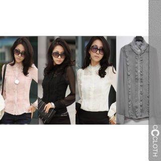 Black Grey Pink White 80s Vintage Ladies Womens Chiffon Sheer Top