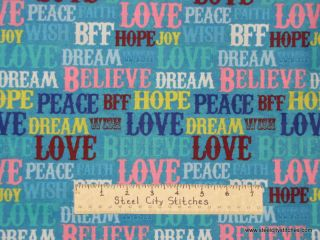 Spectrix Dream Girls Love Hope Dream Cotton Fabric Yard