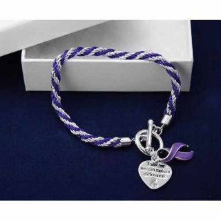 Lupus Cystic Fibrosis Fibromyalgia purple ribbon braided toggle