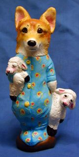 Welsh Corgi Original Folk Art One of a Kind Sculpture Doll by LyN