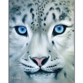 Painting Snow Leopard Big Cat Kitty Animal Blue Eyes Art Lusk