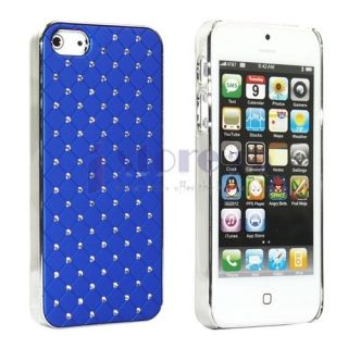 Blue Luxurious Lattice Diamonds Hard Case Cover Skin for Apple iPhone