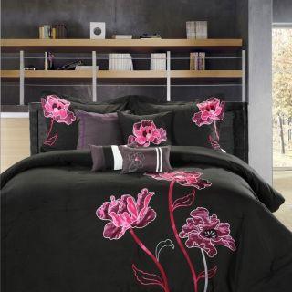 8PC Luxury Comforter Bed Skirt Bedding Set Deep Orchid Black Pink