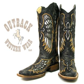 Corral Winged Cross Silver Inlay Boots A1986