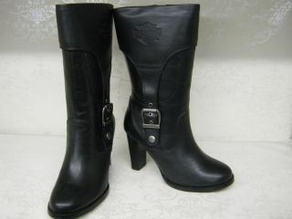 Ladies Harley Davidson Reese Black Leather High Heel Med Calf Boots