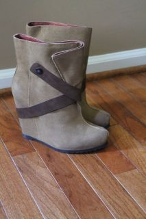 Luxury Rebel Tan Suede Simone Fashion Boots 38 1 2M Good Condition