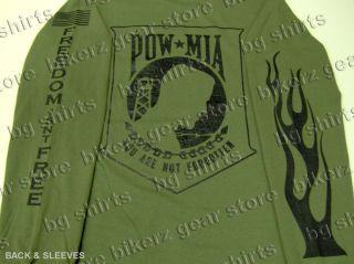 Pow MIA Veterans L s Flame OD Green T Shirt 2X 3X Army Navy Air Force