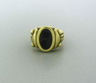 Estate Kieselstein Cord 18K Yellow Gold Carved Onyx Intaglio Ring