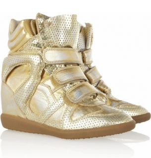 Isabel Marant F W2013 Bird Gold Bekket Wedge Sneakers Sz 37