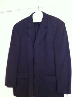 Alfani Mens Navy Blue Button Down Blazer Suit Jacket Size 44R