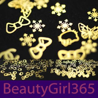 Fashion 500pcs Gold Metal Sticker Nail Art Decoration DIY Acrylic Tips
