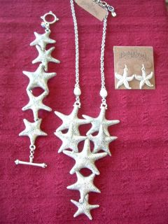 Lucky Brand Sea Star Charm Necklace Bracelet Earrings Set