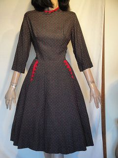Incredible 50s Vintage Gray Red Lucy Dress B38 Minx Modes