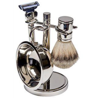 Silver Finish 4 Piece Shaving Set Wgillette Mach3 Razor