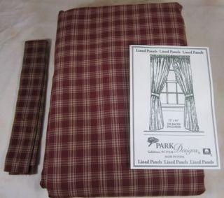 Country Wine Tan Plaid Sturbridge Lined Curtain Panels 72x84