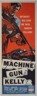 MACHINE GUN KELLY original 1958 insert movie poster CHARLES BRONSON