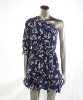 Madison Marcus New Blue Womens Dress One Shoulder Silk Gown Size