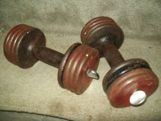 ARISTOCRAT DUMBBELLS vtg antique used strongman old weider lurie