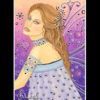 Fantasy Fairy Purple Sexy Diva Pin Up Fae Goddess Art Nouveau Lusk