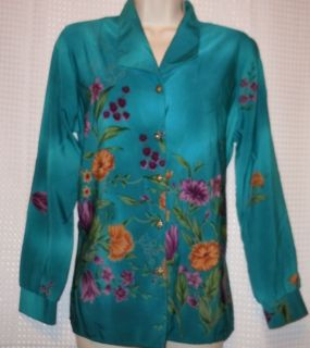 Maggie Sweet Womens Green Floral L s Button Shirt PS