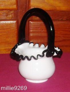 Stunning Fenton Black Crest 6.5 Milk Glass Basket, 4 Gift Shop 1970s