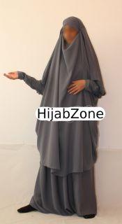 French 2 piece Overhead Jilbab Grey L/XL (abaya, niqab, hijab, khimar