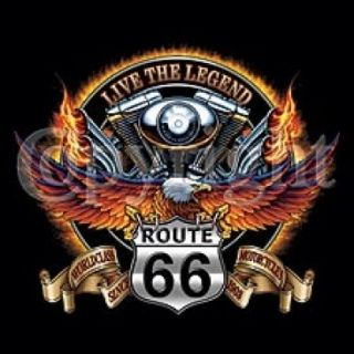 Twin Engine Motorcycle Legend Route 66 Biker Pocket Tee T Shirt