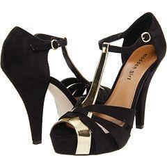 Madden Girl Hope Dress Sandal Black Gold Strappy Peep Toe 8