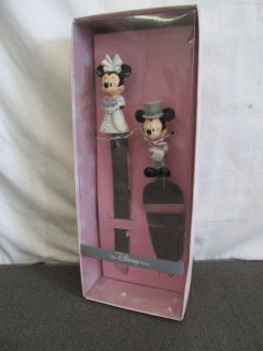 Disney Wedding Cake Set Knife & Server Bride Groom Mickey Minnie Mouse