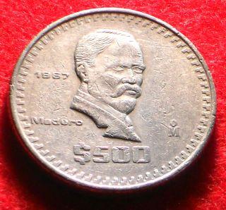 Mexico 1987 $ 500 Pesos President Madero Thick Mexican Coin
