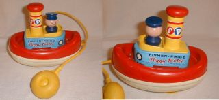 VG 1967 Fisher price Tuggy Tooter Tugboat Toy Works Great Free