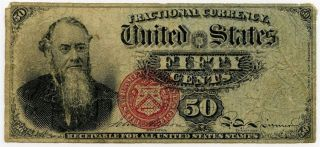 Fractional Currency EDWIN M STANTON 50 Cent Fourth Issue FR 1376 R