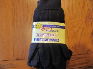 PR Brown Jersey Gloves Work Chore Garden Utility Poly Cotton Hot