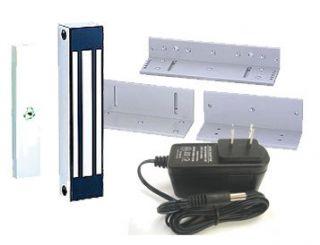 400 lbs Single Door Magnetic Lock Kit w Brackets Power Supply Weather