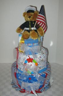 Diaper Cake Baby Shower Marines Military Army Navy Air Force Baby Gift