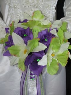 PC Apple Green Lime Green Orchid Purple Rose Wedding Bouquet Set Gem