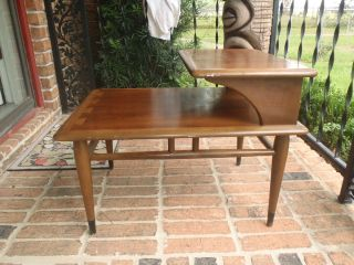 Vintage Mid Century 60s Lane Dove Tail Step Up End Table