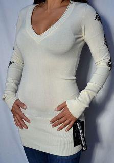 Affliction Women Maia Long Sleeve V Neck Sweater AW4780 Cream White