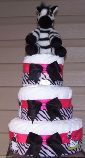 Pink Zebra Diaper Cake Baby Gift, Shower Centerpiece, Baby Shower